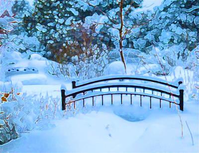 Christmas Eve Storm And The Little Garden Bridge Poster by Douglas MooreZart