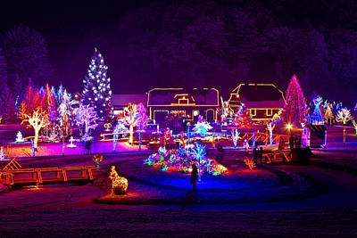 Christmas Fantasy Trees And Houses In Lights Poster