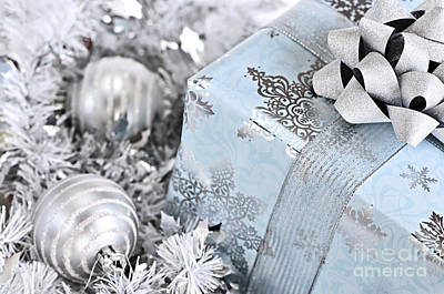Christmas Gift Box And Decorations Poster by Elena Elisseeva