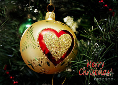 Christmas Gold Ball With Heart And Greeting Poster