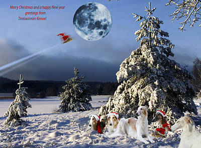 Christmas Greetings From Borzoi Sight-hounds Poster by Christian Lagereek