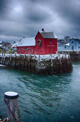 Christmas In Rockport Massachusetts Poster by Jeff Folger
