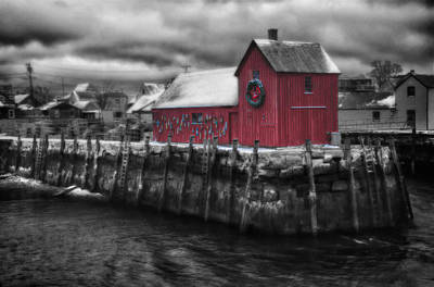 Christmas In Rockport New England Poster by Jeff Folger
