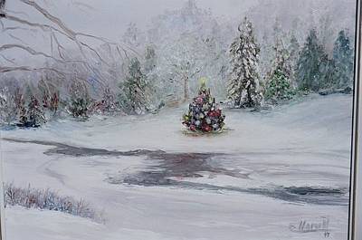 Poster featuring the painting Christmas In The Woods by Catherine Hamill