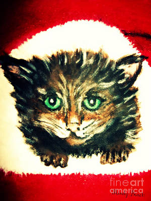 Poster featuring the painting Christmas Kitten  by Mindy Bench