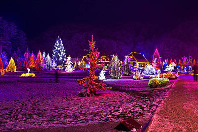 Christmas Lights In Town Park - Fantasy Colors Poster