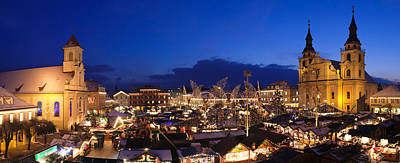 Christmas Market Lit Up At Night Poster by Panoramic Images