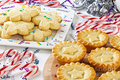 Christmas Mince Pies Cookies Candy Canes Poster by Colin and Linda McKie