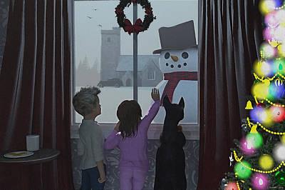 Christmas Morning Greeting Poster by Ken Morris