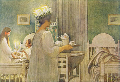Christmas Morning, Pub. In Lasst Licht Poster by Carl Larsson