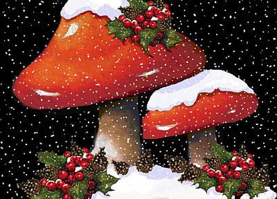 Christmas Mushrooms In Snow Poster