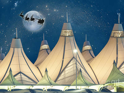 Christmas Night At Denver International Airport Poster by Juli Scalzi