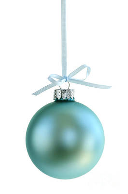 Christmas Ornament On White Poster by Elena Elisseeva
