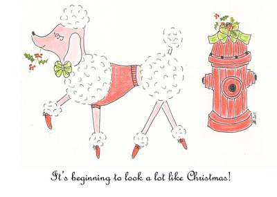 Christmas Poodle Poster by Stephanie Grant