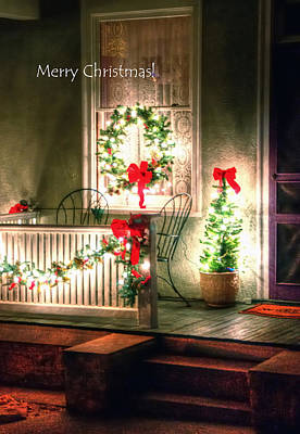 Christmas Porch Poster by Jerry Sodorff