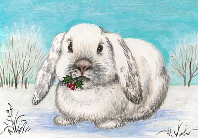 Christmas Rabbit Poster by Margaryta Yermolayeva