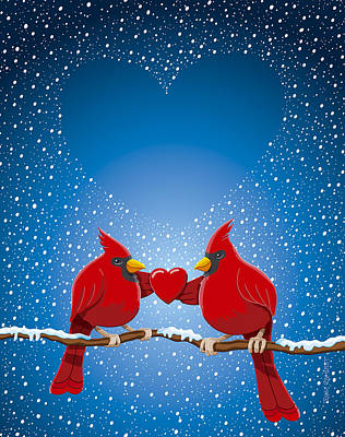 Christmas Red Cardinal Twig Snowing Heart Poster by Frank Ramspott