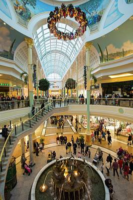 Christmas Shoppers In The Trafford Centre Poster by Ashley Cooper