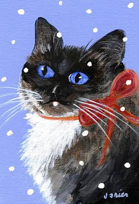 Christmas Siamese Poster by Jamie Frier