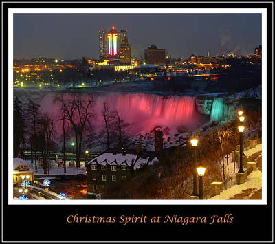 Christmas Spirit At Niagara Falls - Holiday Card Poster