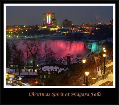 Christmas Spirit At Niagara Falls - Holiday Card Poster by Lingfai Leung