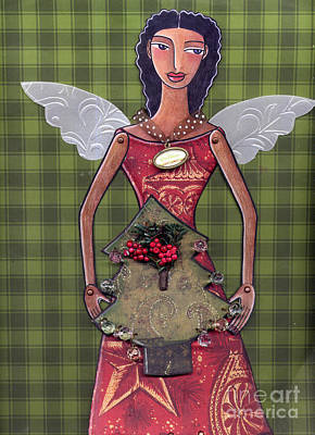Christmas Tree Angel Poster by Elaine Jackson