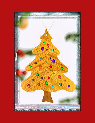 Christmas Tree Art Ornament In Red  Poster