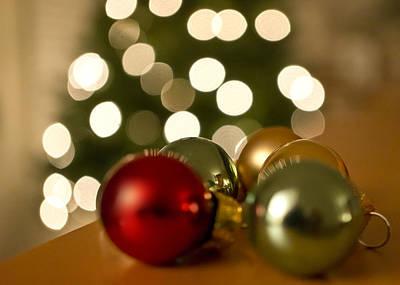 Christmas Tree Bokeh And Ornaments Poster