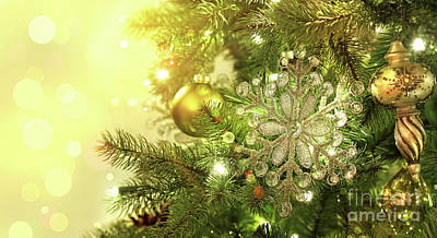 Christmas Tree Decorations With Sparkle Background Poster by Sandra Cunningham