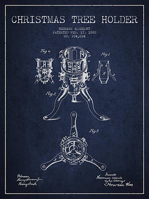 Christmas Tree Holder Patent From 1880 - Navy Blue Poster by Aged Pixel