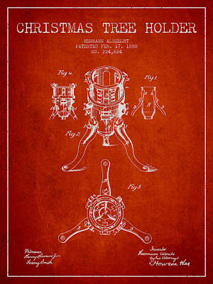 Christmas Tree Holder Patent From 1880 - Red Poster by Aged Pixel
