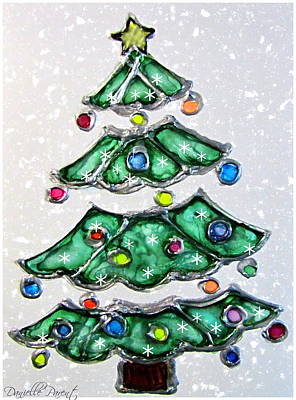 Christmas Tree In Snow Poster by Danielle  Parent