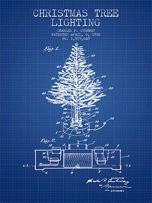 Christmas Tree Lighting Patent From 1926 - Blueprint Poster by Aged Pixel