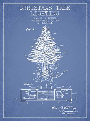 Christmas Tree Lighting Patent From 1926 - Light Blue Poster