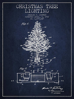 Christmas Tree Lighting Patent From 1926 - Navy Blue Poster by Aged Pixel