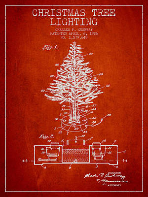 Christmas Tree Lighting Patent From 1926 - Red Poster by Aged Pixel