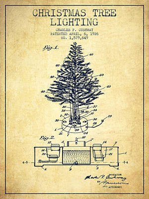 Christmas Tree Lighting Patent From 1926 - Vintage Poster by Aged Pixel