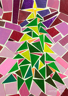 Christmas Tree Mosaic Christmas Card Poster by Adam Long