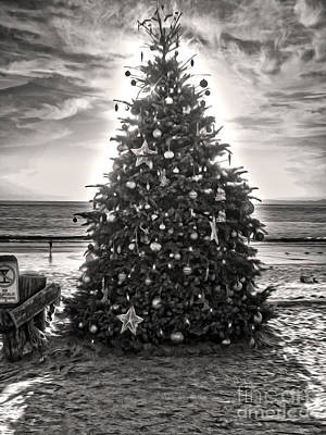 Poster featuring the painting Christmas Tree On The Beach by Gregory Dyer