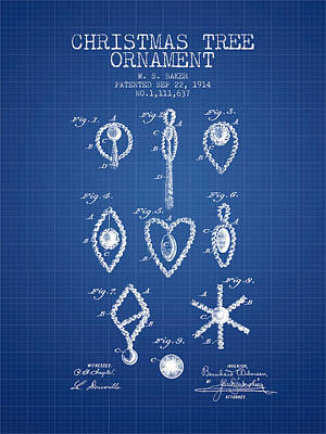 Christmas Tree Ornament Patent From 1914 - Blueprint Poster by Aged Pixel