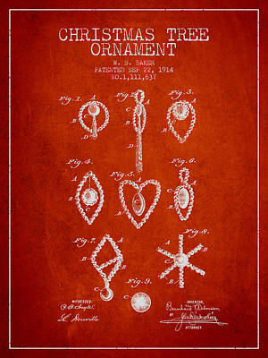Christmas Tree Ornament Patent From 1914 - Red Poster by Aged Pixel