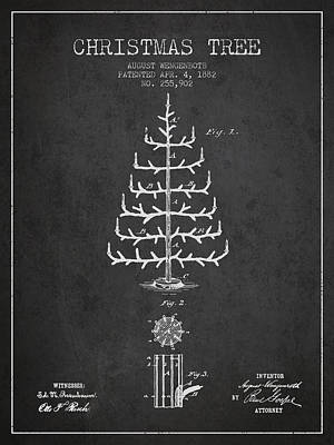 Christmas Tree Patent From 1882 - Charcoal Poster by Aged Pixel