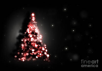 Christmas Tree Shining On Black Background Poster by Michal Bednarek