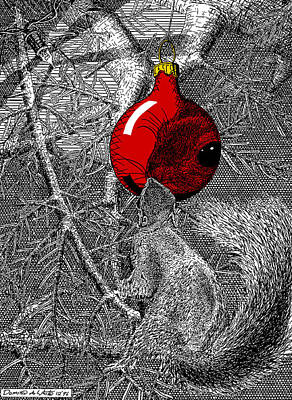 Christmas Tree Squirrel With Red Ornament Poster