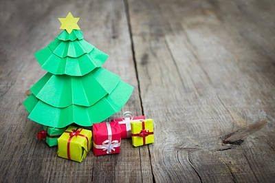 Christmas Tree With Presents Poster by Aged Pixel