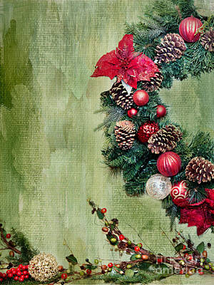 Christmas Wreath Poster by Rebecca Cozart
