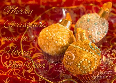 Christmasball Cupcakes Poster by Iris Richardson
