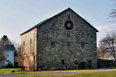 Poster featuring the photograph Christmastime At The Probst Stone Barn by Gene Walls