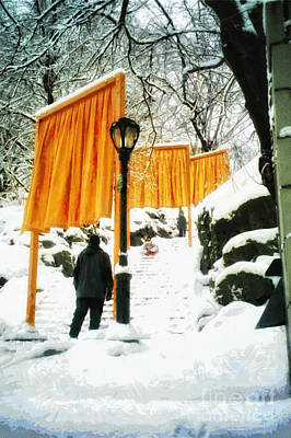 Christo - The Gates - Project For Central Park In Snow Poster by Nishanth Gopinathan