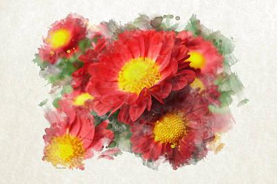 Chrysanthemum Watercolor Art Poster